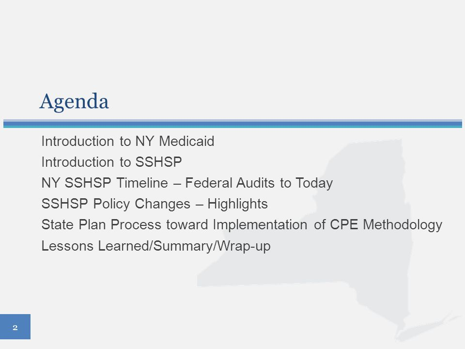 Compliance Agreement Requirements New York State SSHSP compliance policy Commitment to ensure compliance Training of relevant employees Ensure SSHSP providers (LEAs and counties) are aware of all applicable laws and regulations and standards of conduct for federal participation in the Medicaid program and consequences for violation of these requirements Confidential disclosure program 13