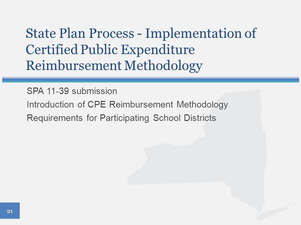 State Plan Process - Implementation of Certified Public Expenditure Reimbursement Methodology SPA 11-39 submission Introduction of CPE Reimbursement M