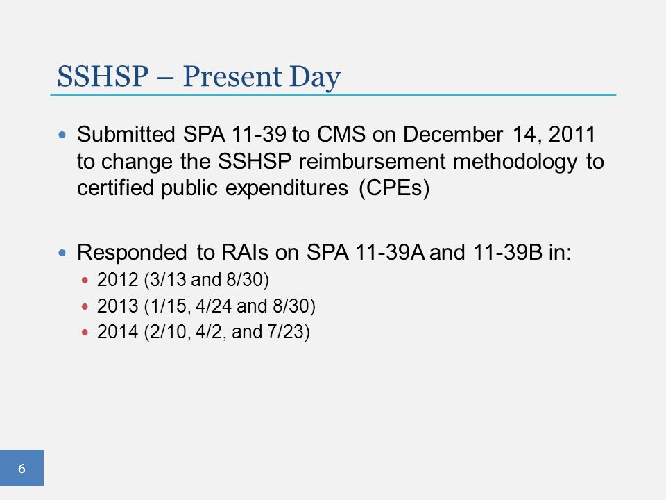 SPA 09-61 Encounter-based claiming Moved SSHSP services from the Rehabilitation Section of the State Plan to the EPSDT Section Key features: 10 SSHSP services Requires written orders/referrals as appropriate Services included in student's IEP Specifies practitioner qualifications required under the Medicaid program Includes under the direction of and supervision requirements Each encounter must be documented in accordance with State Medicaid regulation requirements 17