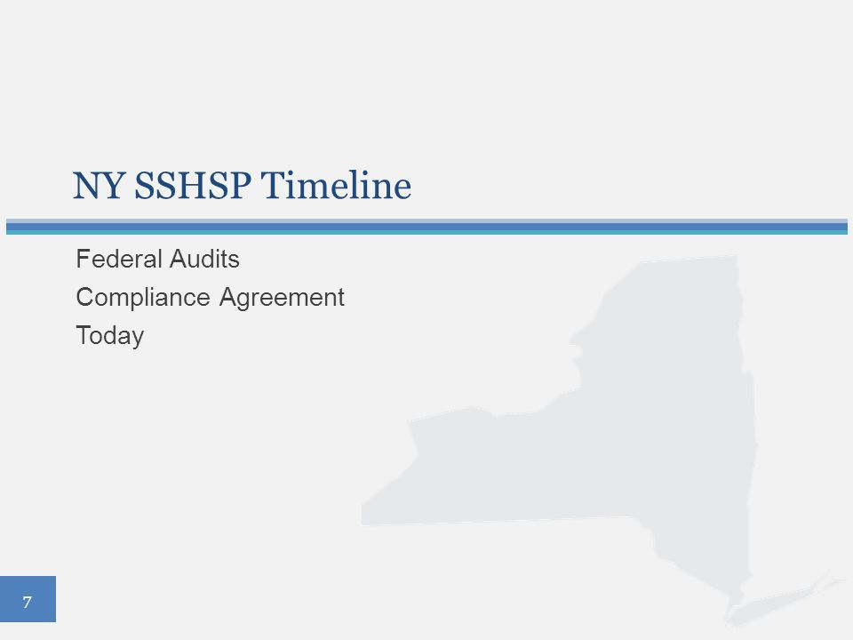 NY SSHSP Timeline Federal Audits Compliance Agreement Today 7