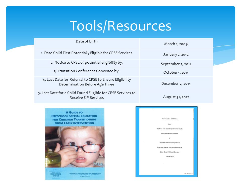 Tools/Resources Date of Birth March 1, 2009 1.