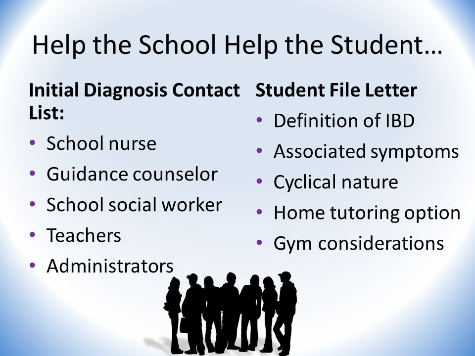 Help the School Help the Student… Initial Diagnosis Contact List: School nurse Guidance counselor School social worker Teachers Administrators Student File Letter Definition of IBD Associated symptoms Cyclical nature Home tutoring option Gym considerations