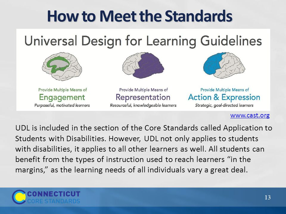 How to Meet the Standards 13 UDL is included in the section of the Core Standards called Application to Students with Disabilities.