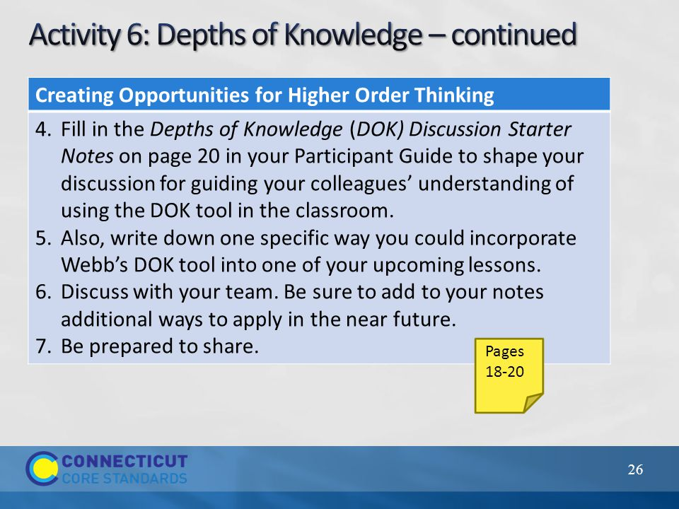 26 Creating Opportunities for Higher Order Thinking 4.Fill in the Depths of Knowledge (DOK) Discussion Starter Notes on page 20 in your Participant Guide to shape your discussion for guiding your colleagues' understanding of using the DOK tool in the classroom.