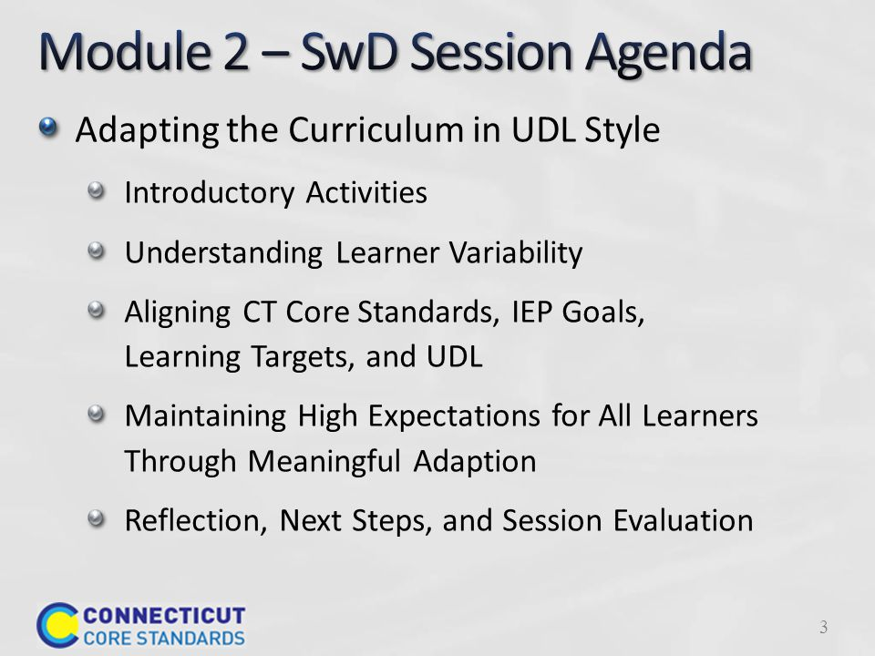 Adapting the Curriculum in UDL Style Introductory Activities Understanding Learner Variability Aligning CT Core Standards, IEP Goals, Learning Targets, and UDL Maintaining High Expectations for All Learners Through Meaningful Adaption Reflection, Next Steps, and Session Evaluation 3
