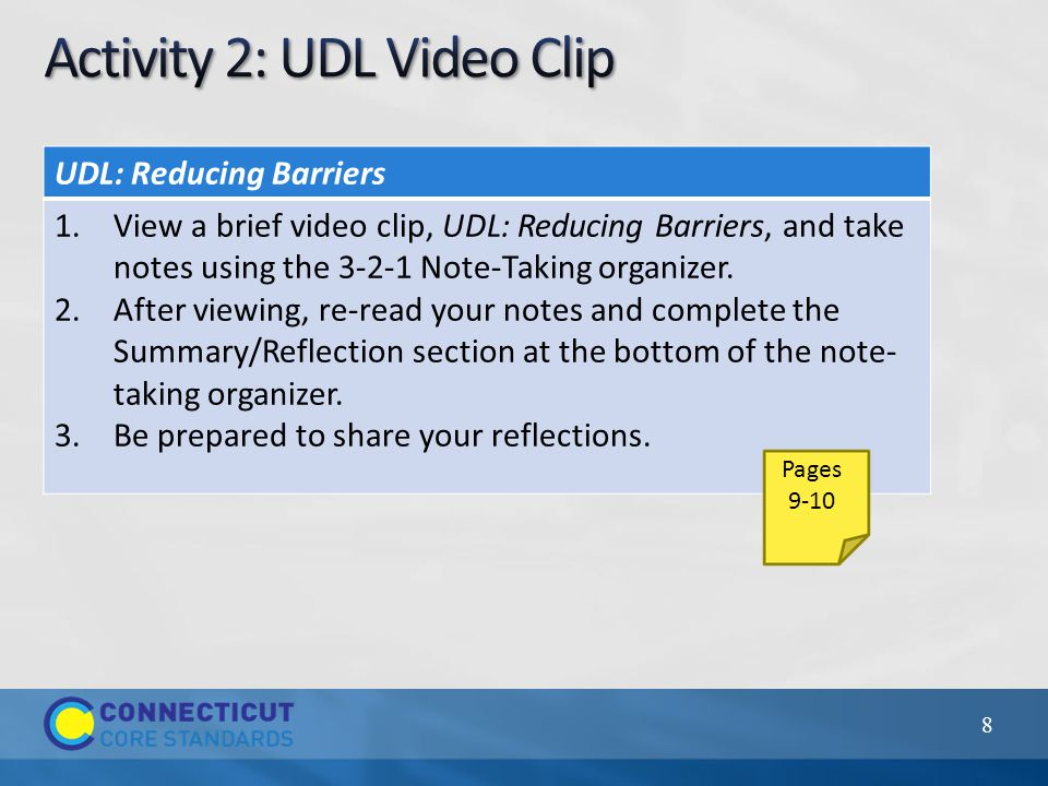 Examples Underlining/highlighting Vertical lines/asterisks/doodles/numbers to organize information Provide multiple media/formats Chunking information Graphic Organizers Provide multiple examples Support background knowledge and context for learning 39