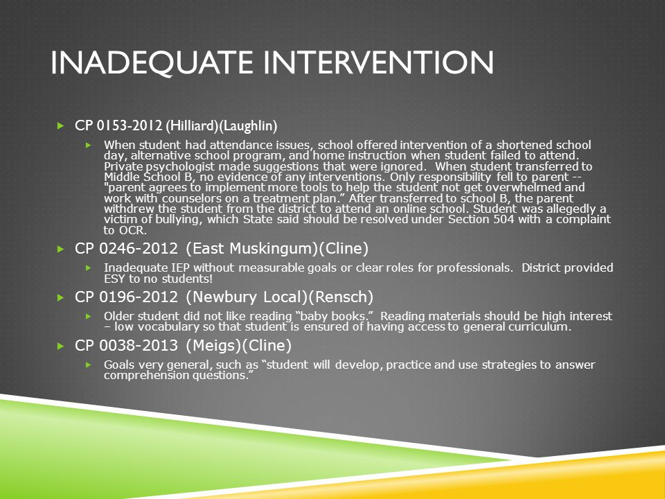 INADEQUATE INTERVENTION  CP 0153-2012 (Hilliard)(Laughlin)  When student had attendance issues, school offered intervention of a shortened school day, alternative school program, and home instruction when student failed to attend.