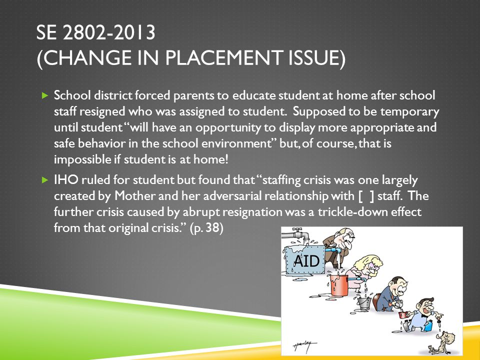 SE 2802-2013 (CHANGE IN PLACEMENT ISSUE)  School district forced parents to educate student at home after school staff resigned who was assigned to student.