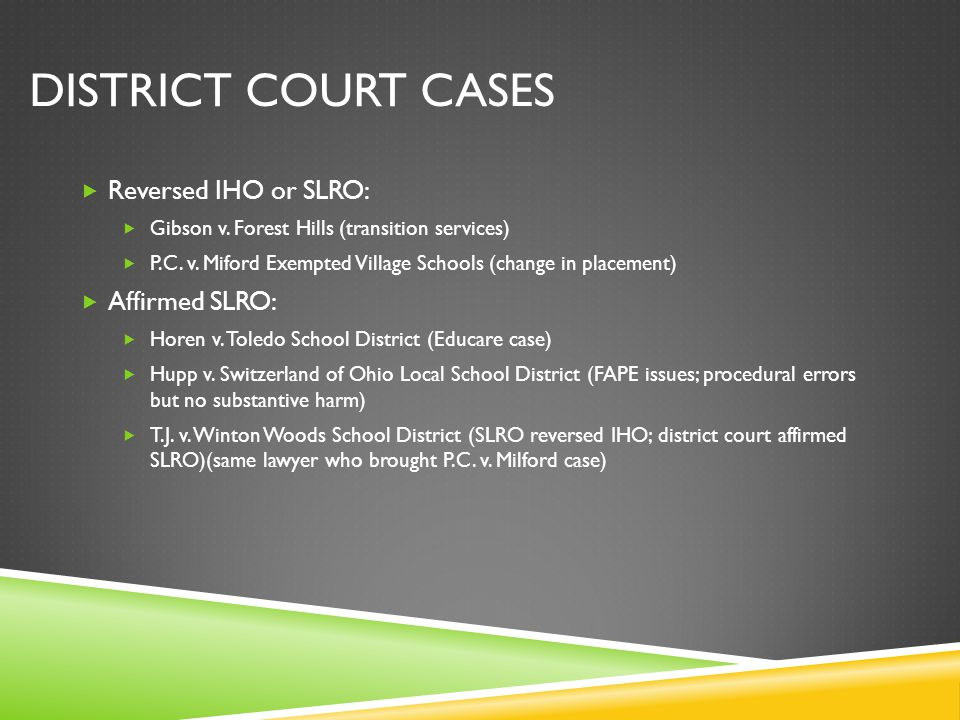 DISTRICT COURT CASES  Reversed IHO or SLRO:  Gibson v.