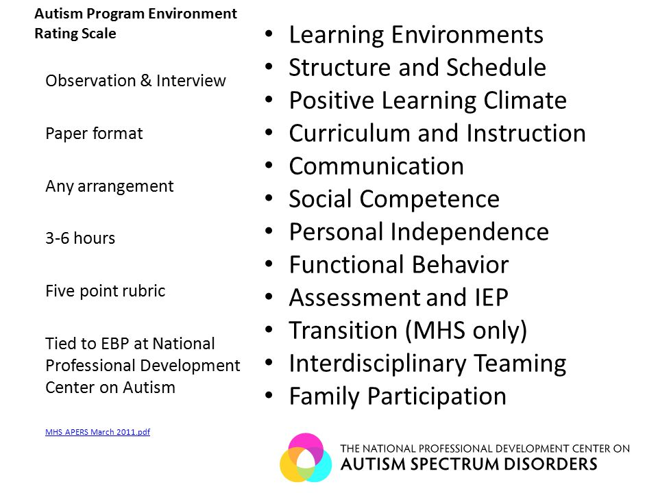 Autism Program Environment Rating Scale Learning Environments Structure and Schedule Positive Learning Climate Curriculum and Instruction Communication Social Competence Personal Independence Functional Behavior Assessment and IEP Transition (MHS only) Interdisciplinary Teaming Family Participation Observation & Interview Paper format Any arrangement 3-6 hours Five point rubric Tied to EBP at National Professional Development Center on Autism MHS APERS March 2011.pdf