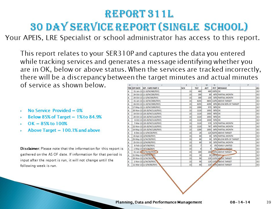 This report relates to your SER310P and captures the data you entered while tracking services and generates a message identifying whether you are in OK, below or above status.