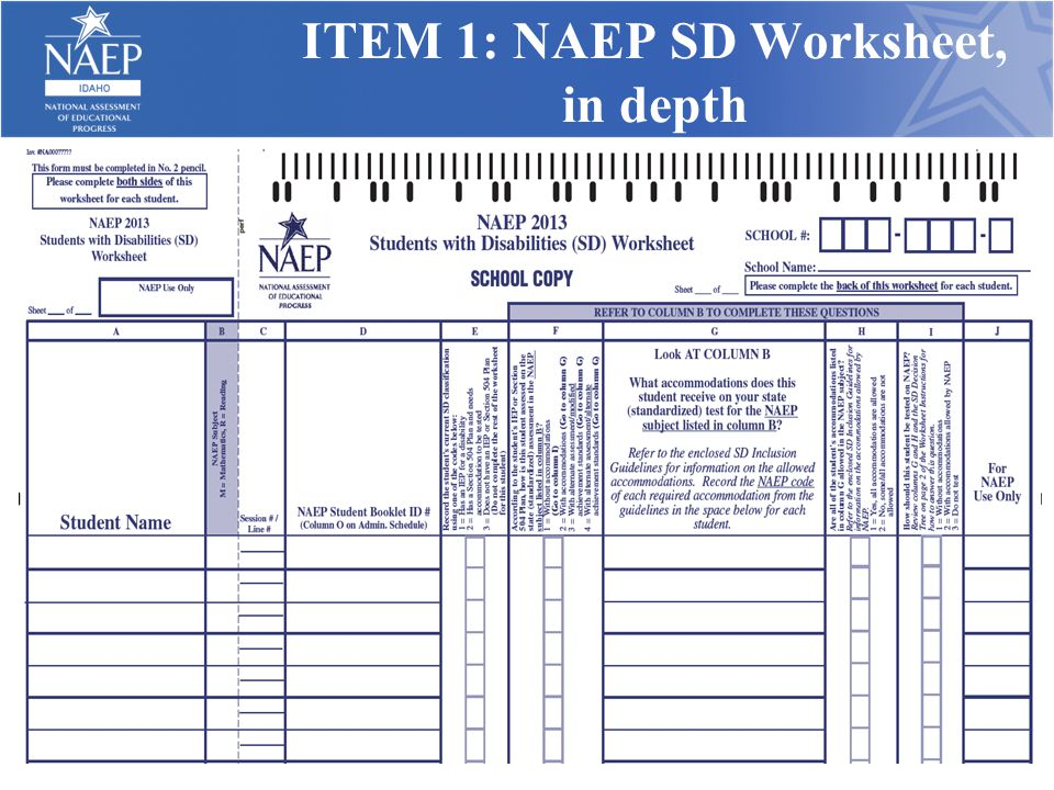 ITEM 1: NAEP SD Worksheet, in depth