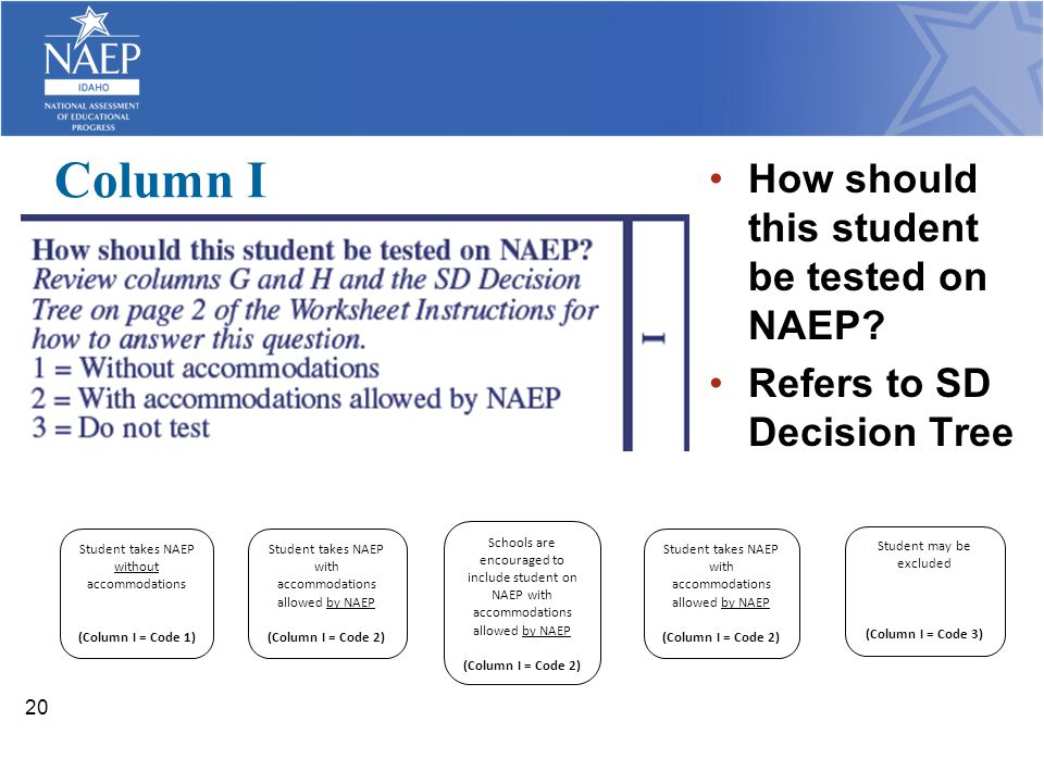 Column I How should this student be tested on NAEP? Refers to SD Decision Tree 20 Student takes NAEP without accommodations (Column I = Code 1) Studen