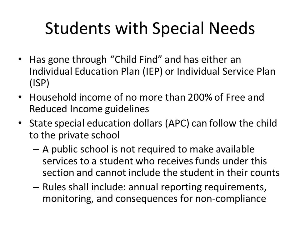 """Students with Special Needs Has gone through """"Child Find"""" and has either an Individual Education Plan (IEP) or Individual Service Plan (ISP) Household"""