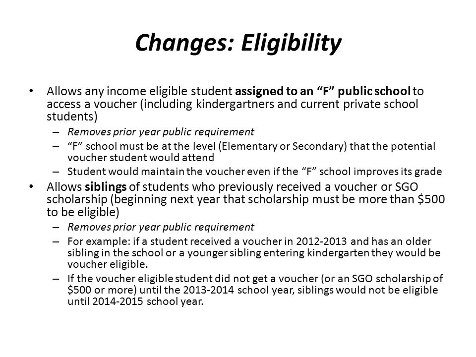 """Changes: Eligibility Allows any income eligible student assigned to an """"F"""" public school to access a voucher (including kindergartners and current pri"""