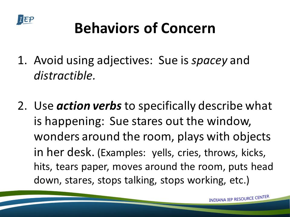 Behaviors of Concern 1.Avoid using adjectives: Sue is spacey and distractible.