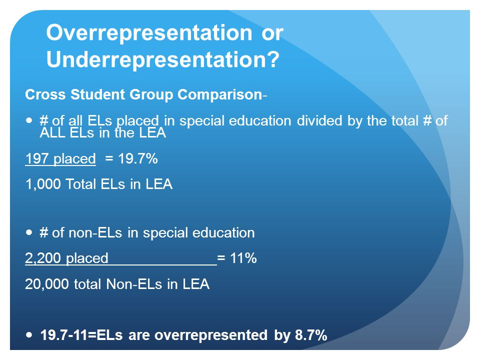 Overrepresentation or Underrepresentation? Cross Student Group Comparison- # of all ELs placed in special education divided by the total # of ALL ELs
