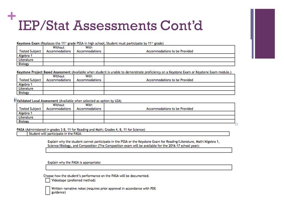 + IEP/Stat Assessments Cont'd