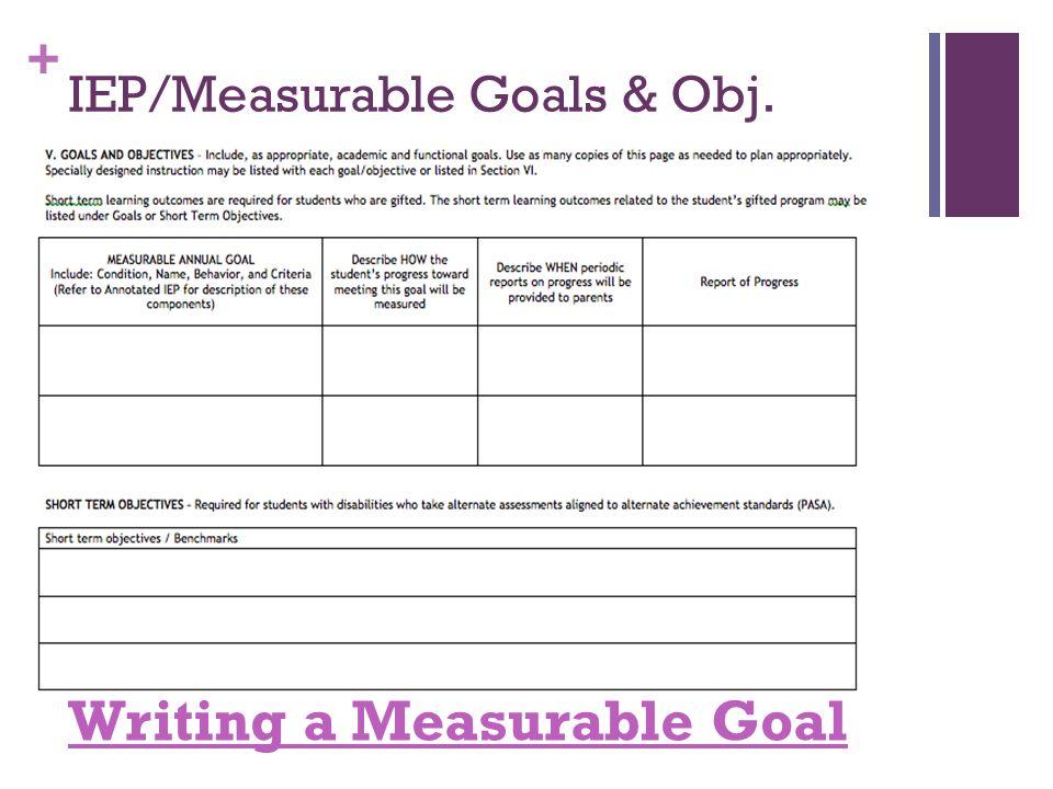 + IEP/Measurable Goals & Obj. Writing a Measurable Goal