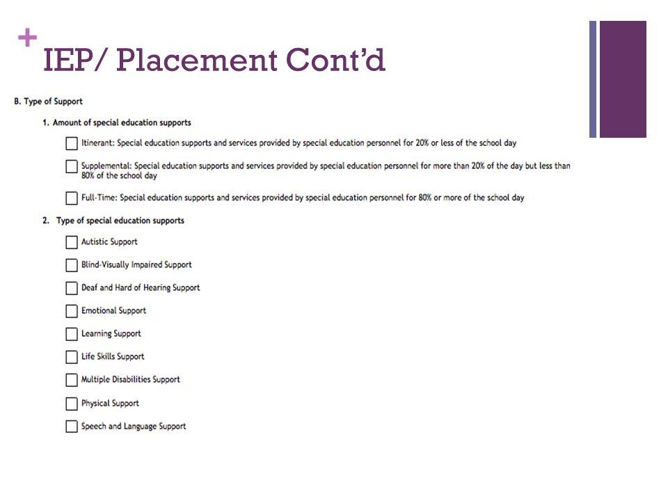 + IEP/ Placement Cont'd