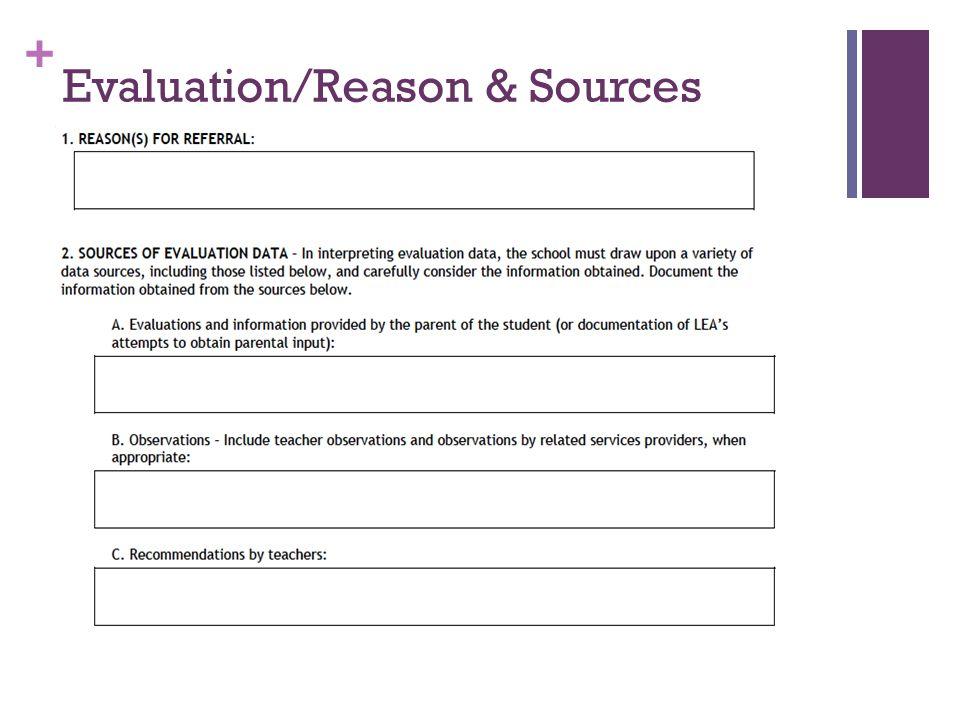 + Evaluation/Reason & Sources
