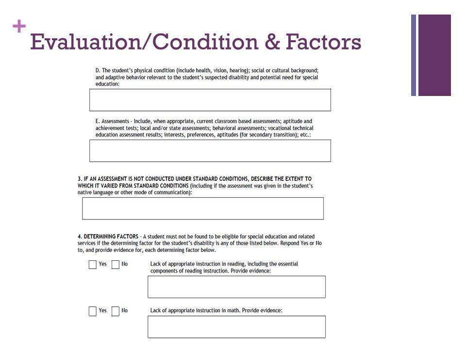 + Evaluation/Condition & Factors