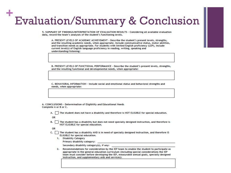 + Evaluation/Summary & Conclusion
