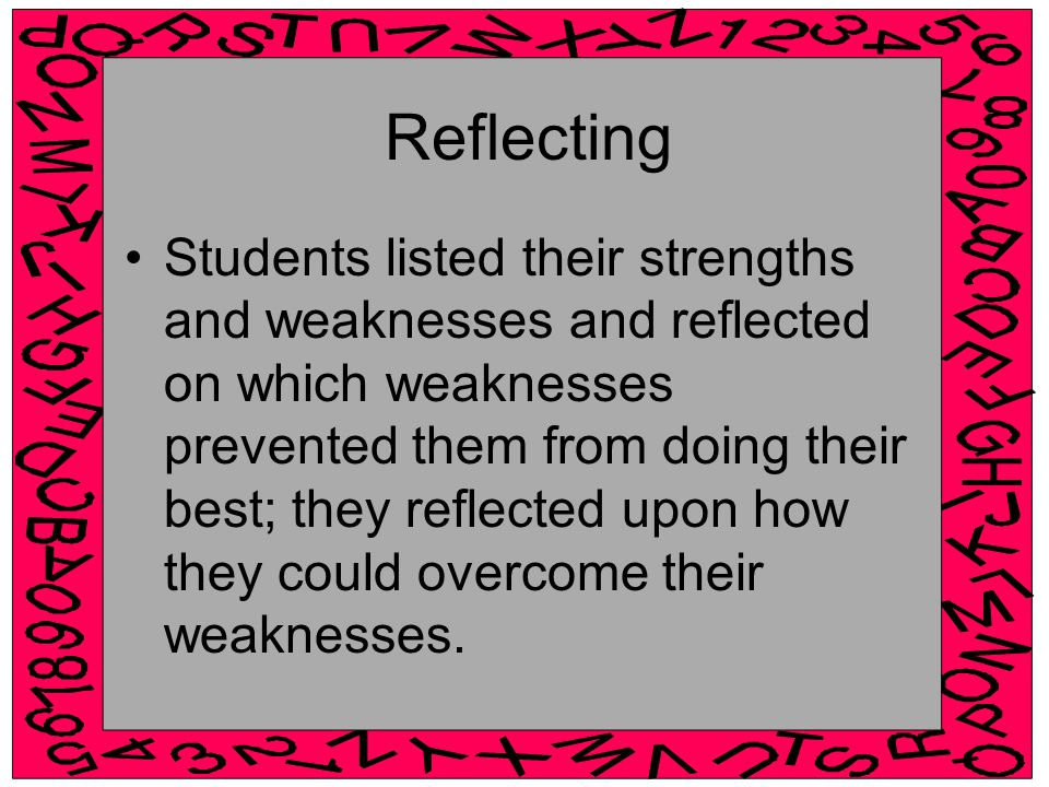 Reflecting Students listed their strengths and weaknesses and reflected on which weaknesses prevented them from doing their best; they reflected upon how they could overcome their weaknesses.