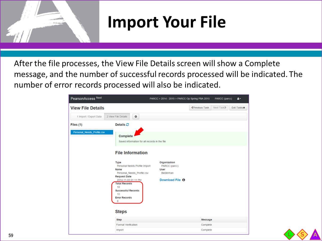 After the file processes, the View File Details screen will show a Complete message, and the number of successful records processed will be indicated.