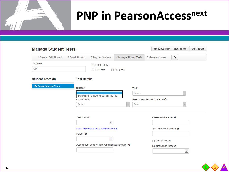 PNP in PearsonAccess next 62