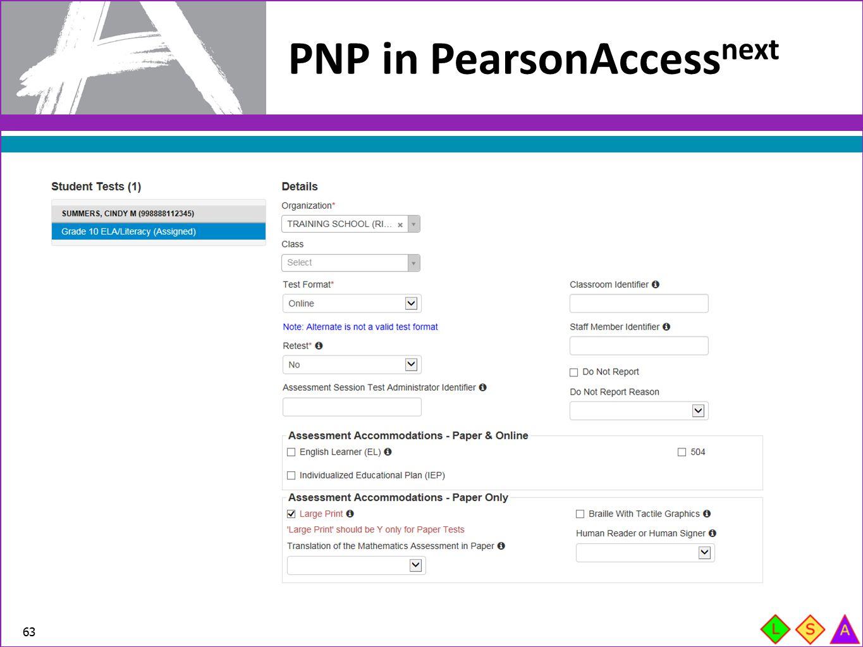 PNP in PearsonAccess next 63
