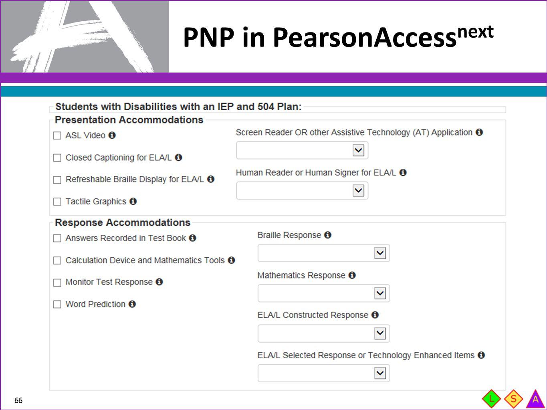 PNP in PearsonAccess next 66