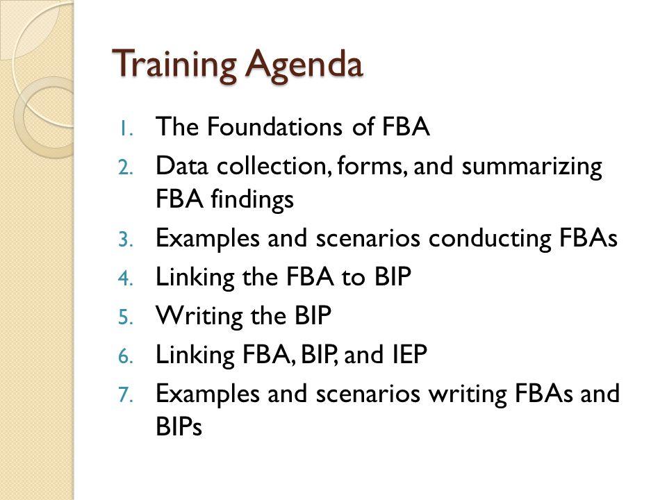 Linking the FBA to BIP ◦ III.