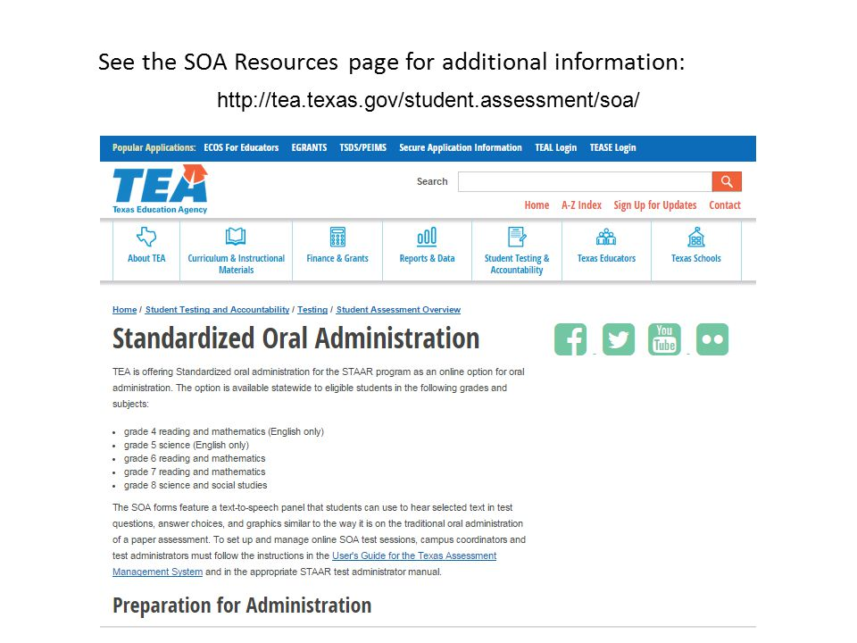 http://tea.texas.gov/student.assessment/soa/ See the SOA Resources page for additional information: