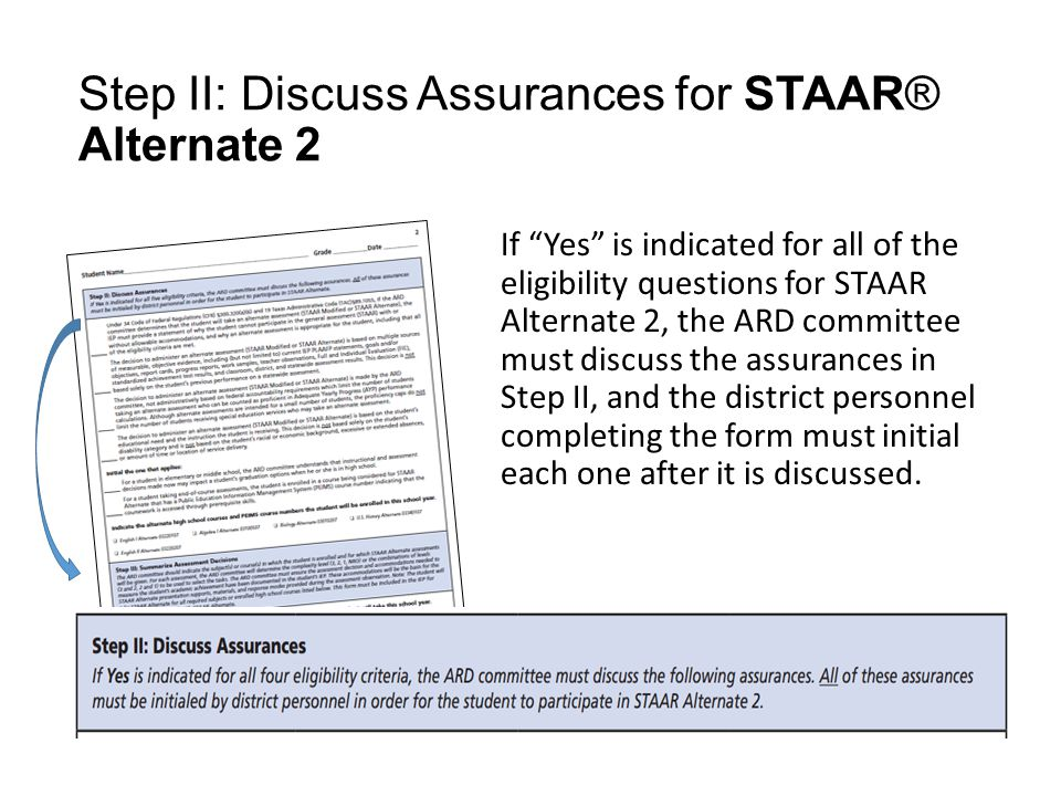 Step II: Discuss Assurances for STAAR® Alternate 2 If Yes is indicated for all of the eligibility questions for STAAR Alternate 2, the ARD committee must discuss the assurances in Step II, and the district personnel completing the form must initial each one after it is discussed.