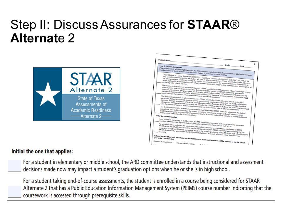 Step II: Discuss Assurances for STAAR® Alternate 2
