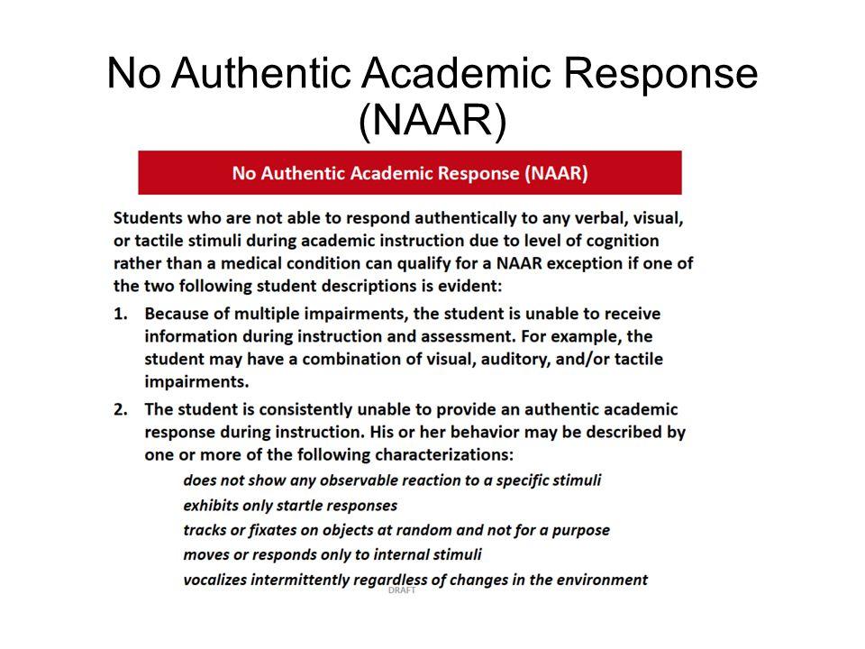 No Authentic Academic Response (NAAR)