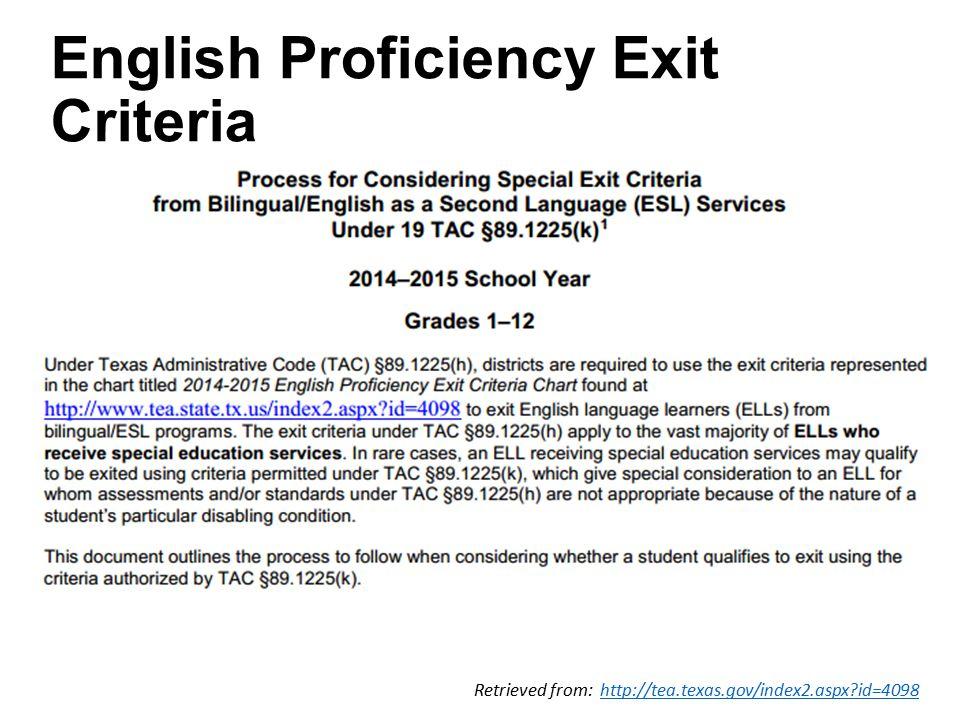 Retrieved from: http://tea.texas.gov/index2.aspx id=4098http://tea.texas.gov/index2.aspx id=4098 English Proficiency Exit Criteria