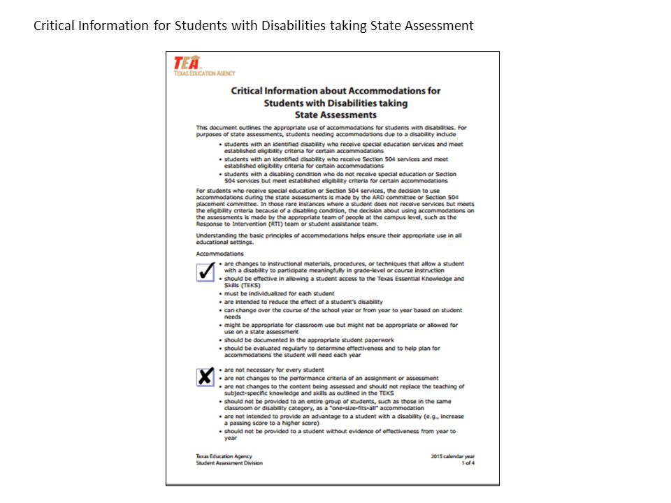 Critical Information for Students with Disabilities taking State Assessment