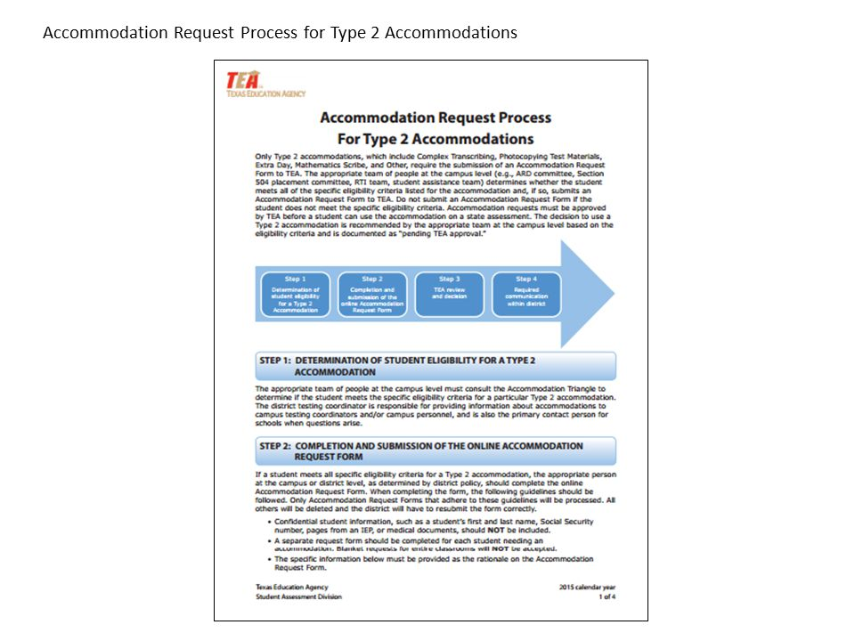 Accommodation Request Process for Type 2 Accommodations