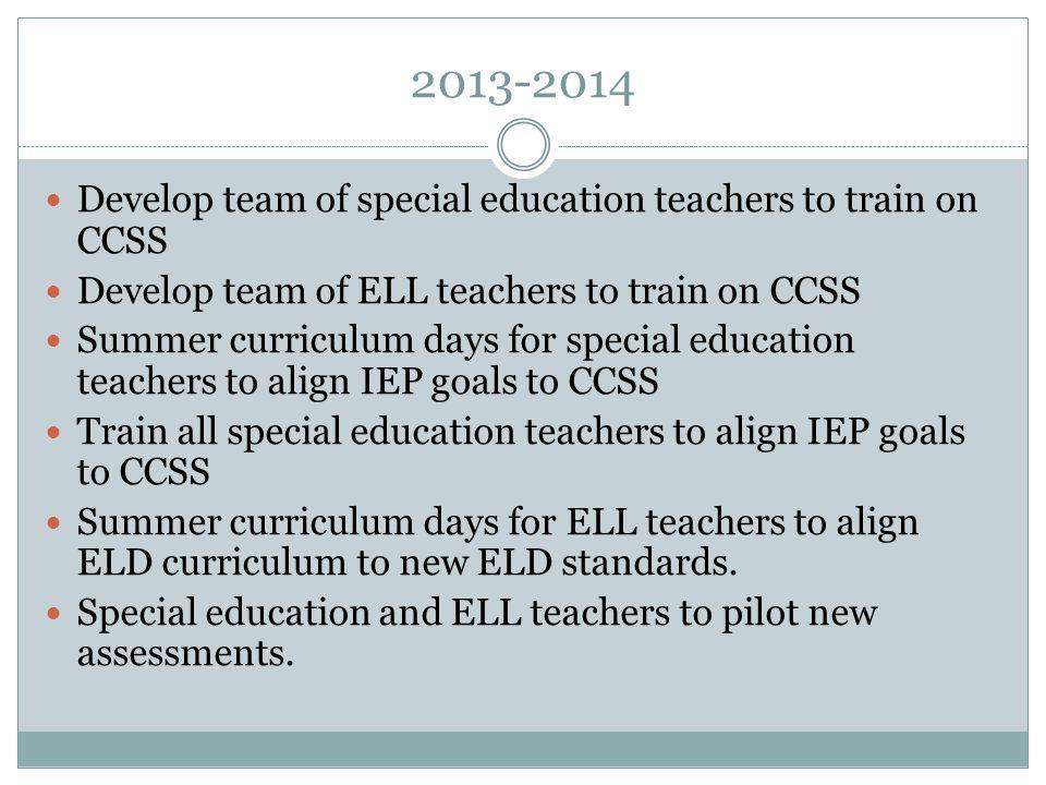 2014-2015 Summer curriculum days for ELL teachers to align ELD curriculum to new ELD standards.