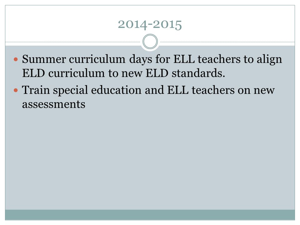 2014-2015 Summer curriculum days for ELL teachers to align ELD curriculum to new ELD standards.