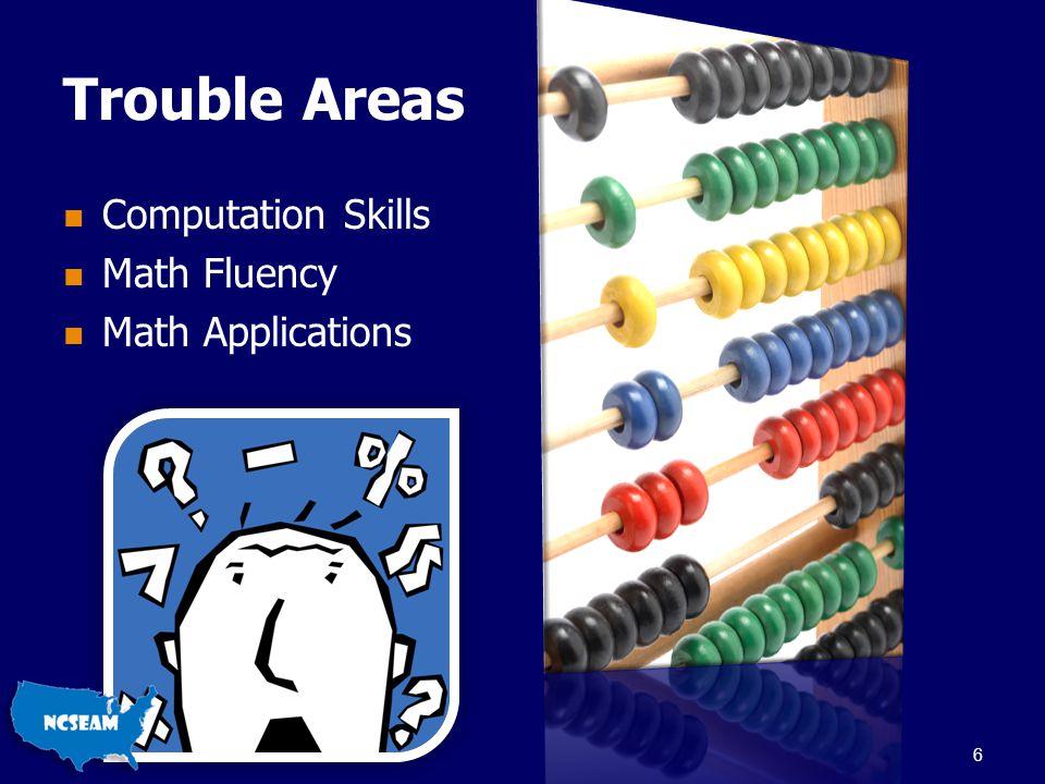 Trouble Areas Computation Skills Math Fluency Math Applications 6