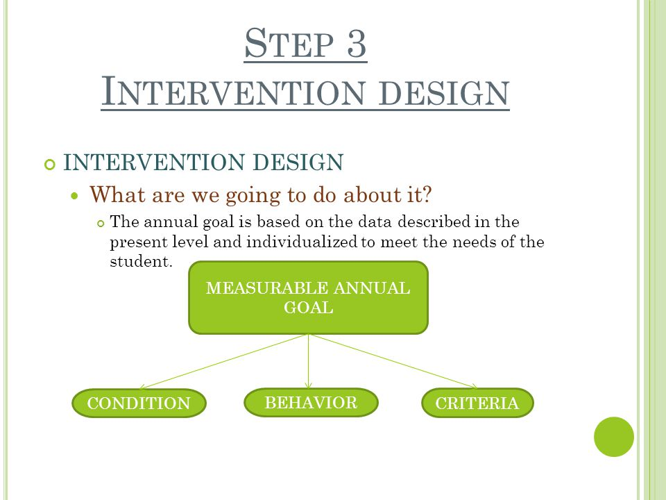 S TEP 3 I NTERVENTION DESIGN INTERVENTION DESIGN What are we going to do about it.