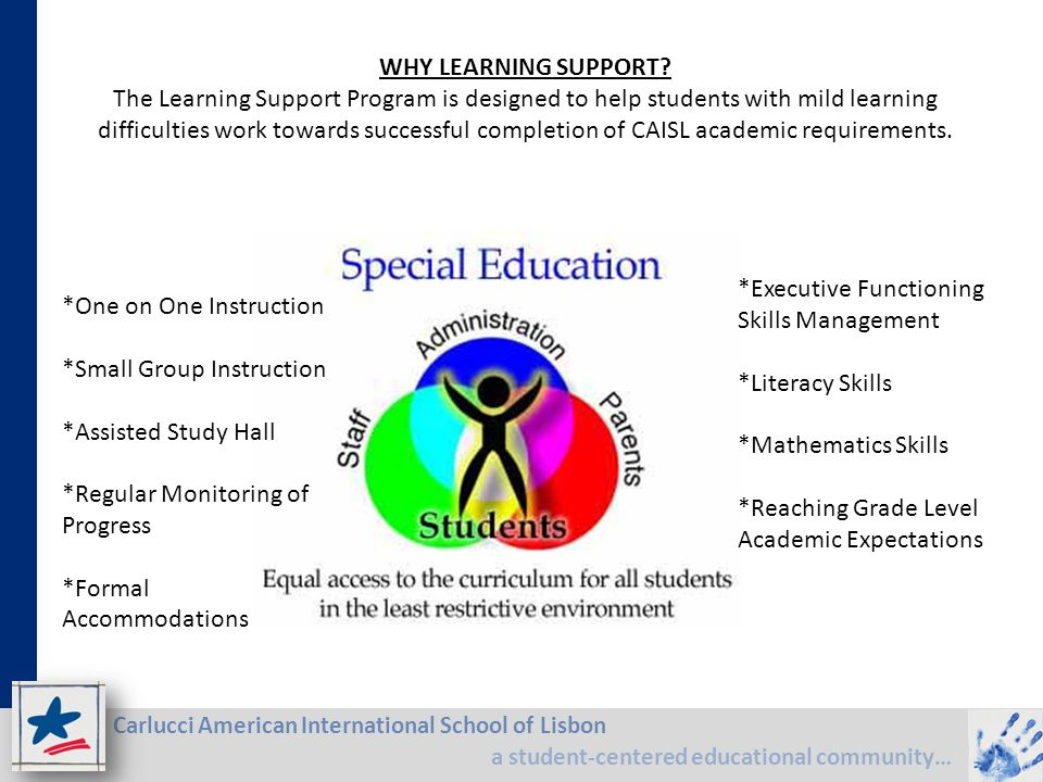 Carlucci American International School of Lisbon a student-centered educational community… WHY LEARNING SUPPORT? The Learning Support Program is desig