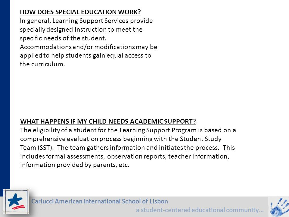 Carlucci American International School of Lisbon a student-centered educational community… HOW DOES SPECIAL EDUCATION WORK? In general, Learning Suppo