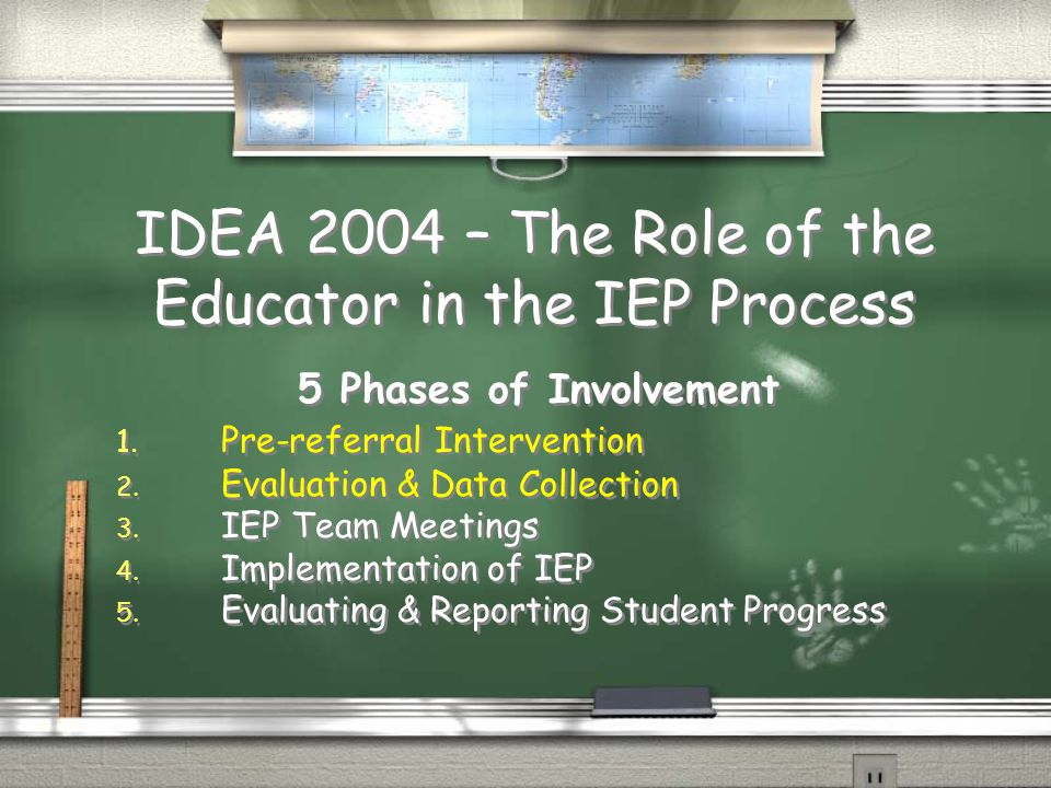 IDEA 2004 – The Role of the Educator in the IEP Process 5 Phases of Involvement 1.