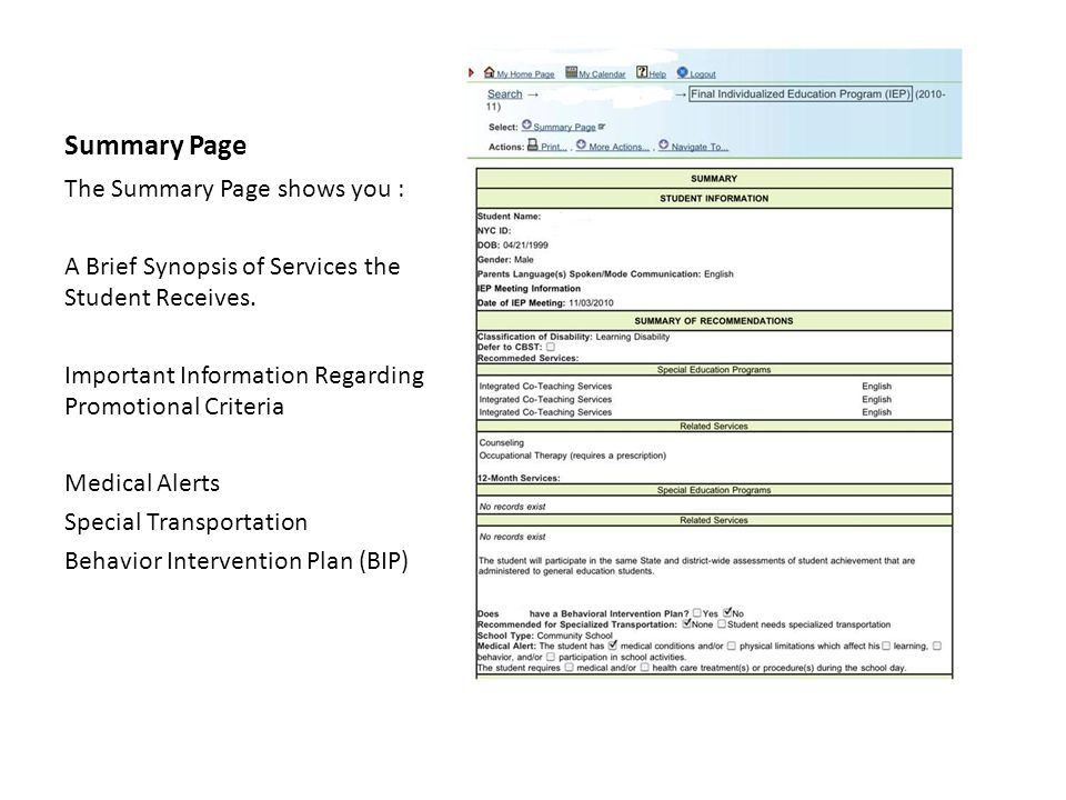 Summary Page The Summary Page shows you : A Brief Synopsis of Services the Student Receives. Important Information Regarding Promotional Criteria Medi