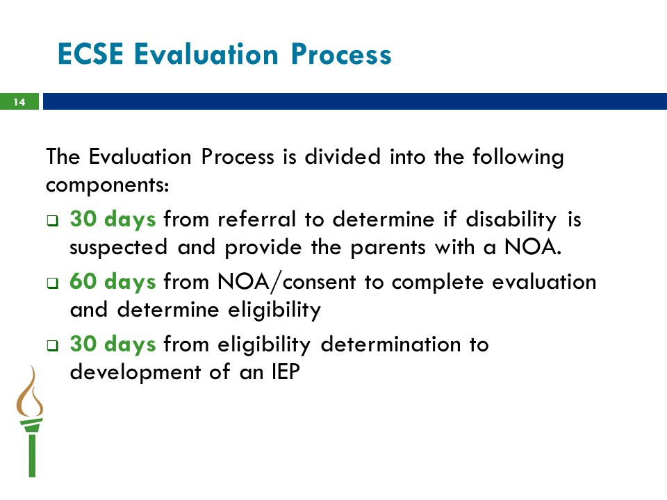 ECSE Evaluation Process The Evaluation Process is divided into the following components:  30 days from referral to determine if disability is suspected and provide the parents with a NOA.