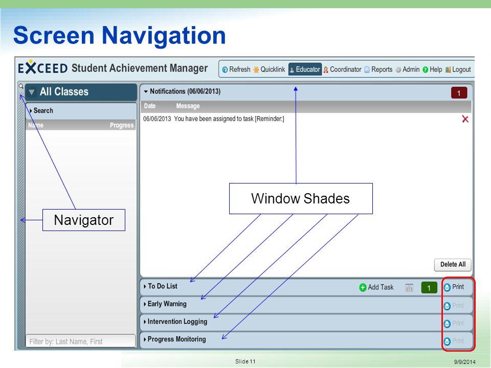9/9/2014 Slide 11 Screen Navigation Window Shades Navigator